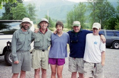Tom Hinton, Ward Whicker, Helen Grogan, John Till, and John Till (son) after completing Mt. Rainier climb in August 2000