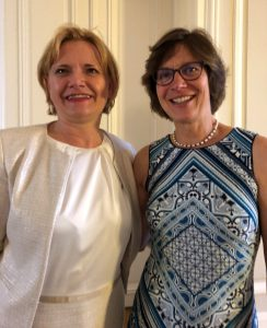UNSCEAR Secretary Borislava Batandjieva-Metcalf (left) with Helen Grogan (right) at the reception hosted by the Permanent Mission of Belgium to the International Organizations in Vienna