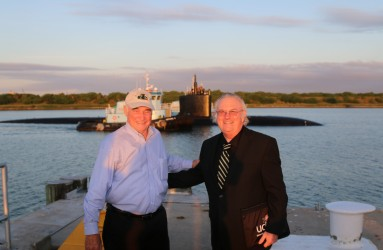 John Till and John Boice embarking on a VIP submarine cruise on the USS MONTPIELIER in 2014.