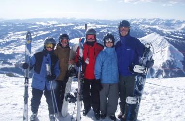 RAC team members skiing at Big Sky, MT, in 2006.