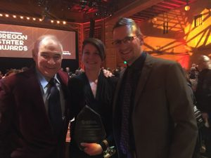 John Till, Emily Caffrey, and her husband Jarvis at the 2019 Oregon Stater Awards ceremony.